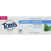 Tom's of Maine Toothpaste, Fluoride, Simply White, Clean Mint