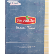Our Family Facial Tissue, 2 Ply, 4 Pack