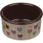 Harmony Heart Print Brown Ceramic Dog Bowl 6 Cups