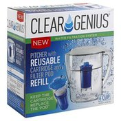 Clear Genius Pitcher, with Reusable Cartridge, and Filter Pod Refill, 6 Cup