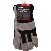 True Grip Gloves, Suede Cowhide with Mesh Back, Large