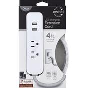 Decor Extension Cord, USB Charging, 4 Feet