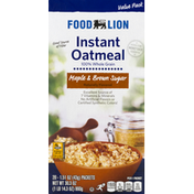 Food Lion Instant Oatmeal, Maple & Brown Sugar, Value Pack