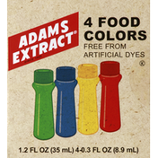 Adams Extract Food Colors, 4 Colors