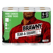 Brawny Tear-A-Square Paper Towels, 6 Double Rolls, 2-Ply