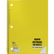 Norcom Notebook, Graph, 4x4 Quad Ruled, 100 Sheets