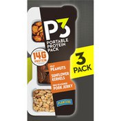 P3 Portable Protein Pack Portable Protein Snack Pack with Heat Peanuts, Sunflower Kernels & BBQ Seasoned Pork Jerky