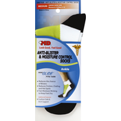 Md Socks, Anti-Blister & Moisture Control, Ankle, Medium, White/Green/Black