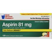 Good Neighbor Pharmacy Aspirin, Adult Low Strength, 81 mg, Enteric Safety Coated, Tablets