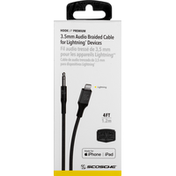 Scosche Audio Cable, 3.5mm, Braided for Lightning, Space Gray, 4 Feet