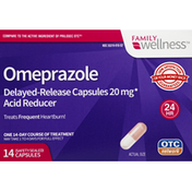 Family Wellness Omeprazole, 20 mg, Delayed-Release Capsules