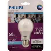 Philips Light Bulb, LED, Scene Switch, Daylight, 9 Watts