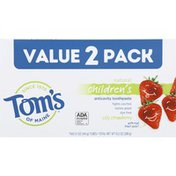 Tom's of Maine Toothpaste, Anticavity, Silly Strawberry, Children's, Natural, Value 2 Pack