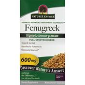 Nature's Answer Fenugreek, 600 mg, Vegetarian Capsules
