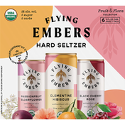 Flying Embers Hard Seltzer, Variety Pack, Fruit & Flora Collection, 6 Pack