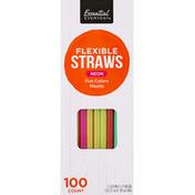 Essential Everyday Straws, Flexible, Neon, Fun Colors, Plastic