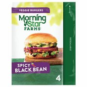 Morning Star Farms Veggie Burgers, Plant Based Protein, Spicy Black Bean