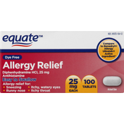 Equate Allergy Relief, Dye Free, 25 mg, Tablets