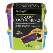 Fit & Fresh Leak Proof Containers 2 Cup - 2 CT
