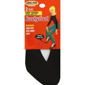 Kushyfoot Foot Covers, Ultra Low Cut, Large/Plus, Black