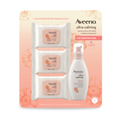Aveeno Ultra-Calming Foaming Cleanser, And Ultra-Calming Makeup Removing Wipes