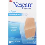 Nexcare Bandages, Knee & Elbow, Waterproof, Clear
