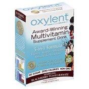 Oxylent Supplement Drink, Multivitamin, Sparkling Blackberry Pomegranate, 5-in-1, Box