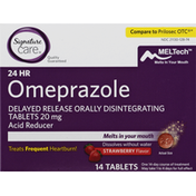 Signature Care Omeprazole, 24 Hour, 20 mg, Tablets, Strawberry Flavor