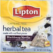 Lipton Herbal Tea, Blackberry Vanilla, Caffeine Free, Bags