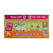 GoGo Squeez GoGo squeeZ Organic Fruit & VeggieZ , Berry/Peach, 3.2oz 24 Pack