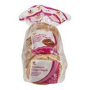 Ahold Cranberry Ginger Bagels - 6 CT