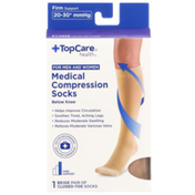 TopCare Firm Support Medical Beige Closed-Toe Below Knee Compression Socks For Men And Women, X-Large