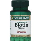 Nature's Bounty Biotin, Quick Dissolve, 5000 mcg, Quick Dissolve Tablets, Natural Strawberry Flavor