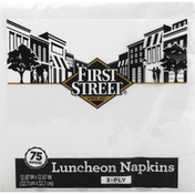 First Street Napkins, Luncheon, White, 3-Ply