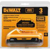 Dewalt Compact Battery, Lithium Ion, 3 AH