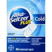 Alka-Seltzer Plus Cold, Sparkling Original, Tablets