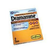 Dramamine Tablets Fast Acting Motion Sickness Relief Tablets, Orange Flavor