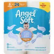 Angel Soft Bathroom Tissue, Fresh Linen Scent, Mega Roll, 2-Ply