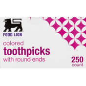 Food Lion Toothpicks, Colored, With Round Ends, Box