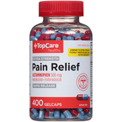 TopCare Extra Strength Pain Relief Acetaminophen 500 Mg Pain Reliever-Fever Reducer Rapid Release Gelcaps