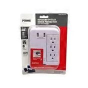 Prima White Wire & Cable 6 Outlet Surge Tap Protector With USB