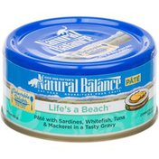 Natural Balance Life's a Beach Adult Cat Food Pate with Sardines, Whitefish, Tuna & Mackerel in Gravy