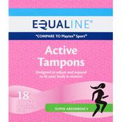 Equaline Tampons, Active, Super Absorbency, Unscented