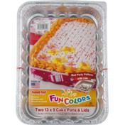 Handi-Foil Cake Pans & Lids Fun Colors - 2 CT