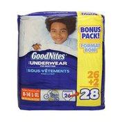 GoodNites Boys Size L-XL Underwear For Nighttime - 28 CT