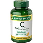 Nature's Bounty Vitamin C, with Rose Hips, 500 mg, Chewable Tablets