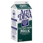 Alta Dena Fat Free Milk, Vitamin A&D, Carton