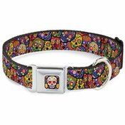 """Buckle-Down Mbkl 1"""" Large Multicolored Skull Dog Collar"""