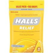 Halls Sugar Free Honey Lemon Cough Suppressant/Oral Anesthetic Menthol Drops