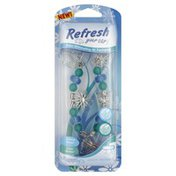 Refresh Your Car Air Freshener, Odor Eliminating, Charm Necklace, Dual Scent, Summer Breeze/Alpine Meadow